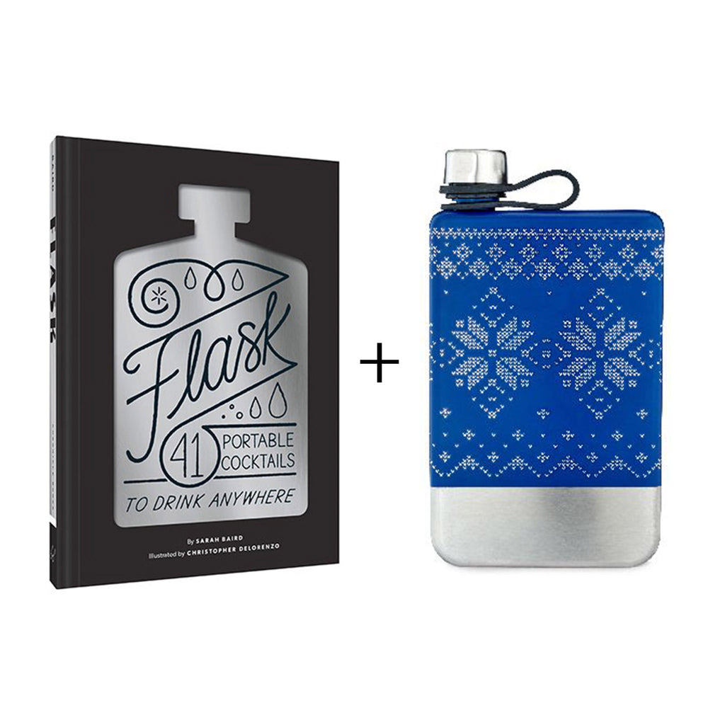 it's all about the flask gift box with flask portable cocktail recipe book and blue and silver nordic knit print flask