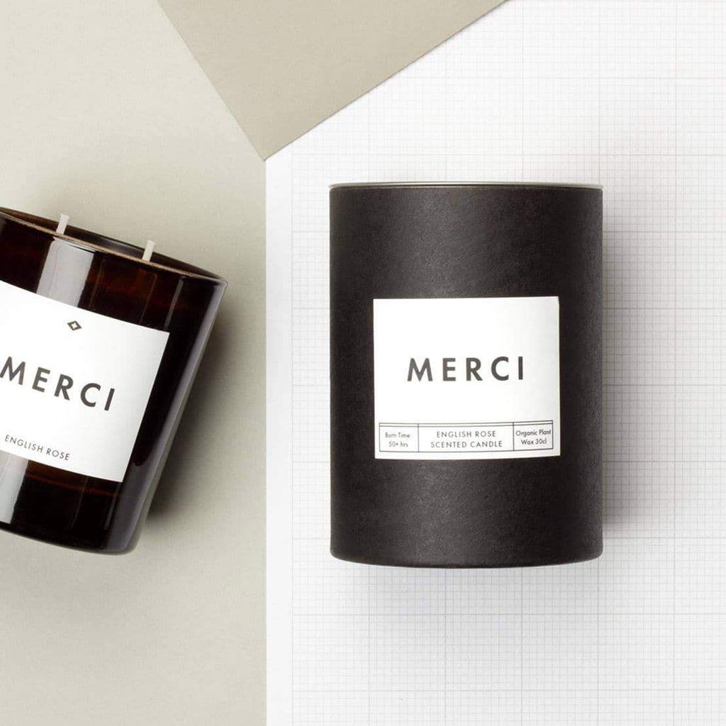merci english rose scented candle packaging