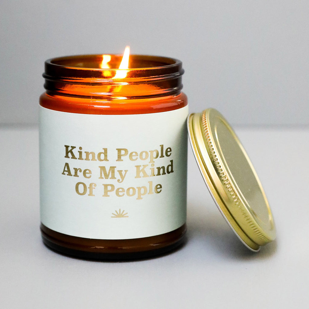 jaxkelly kind people are my kind of people bamboo and coconut scented soy wax candle in amber glass jar with lid