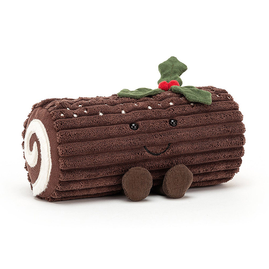 jellycat amuseable yule log holiday stuffed animal plush toy front