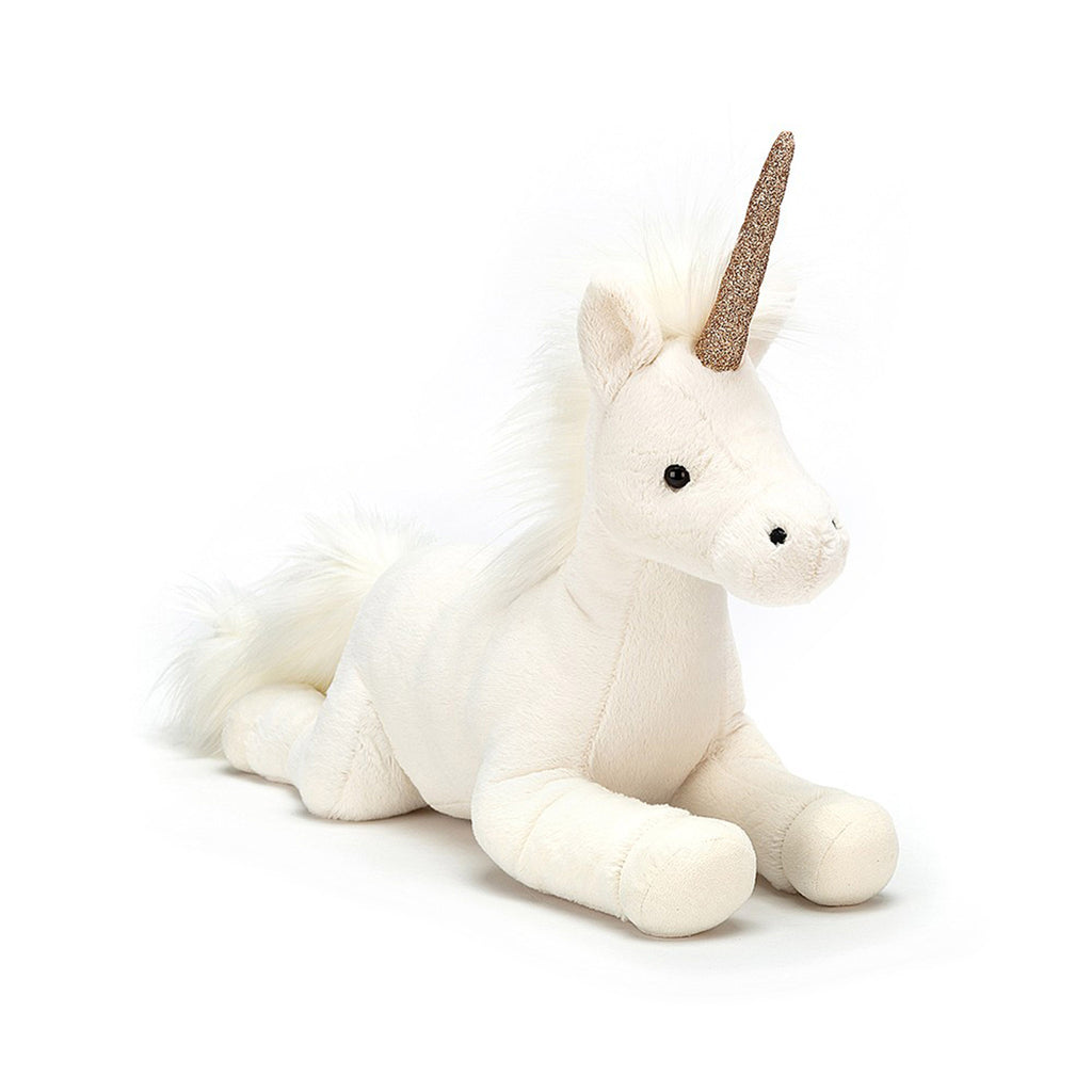 jellycat large luna unicorn stuffed animal plush toy with rose gold sparkly horn front