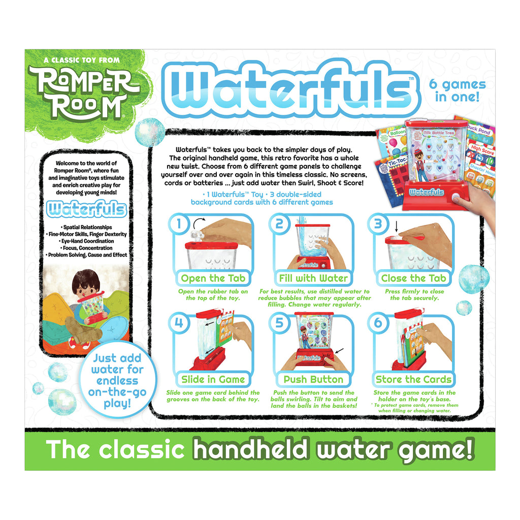 waterfuls classic handheld water game box back