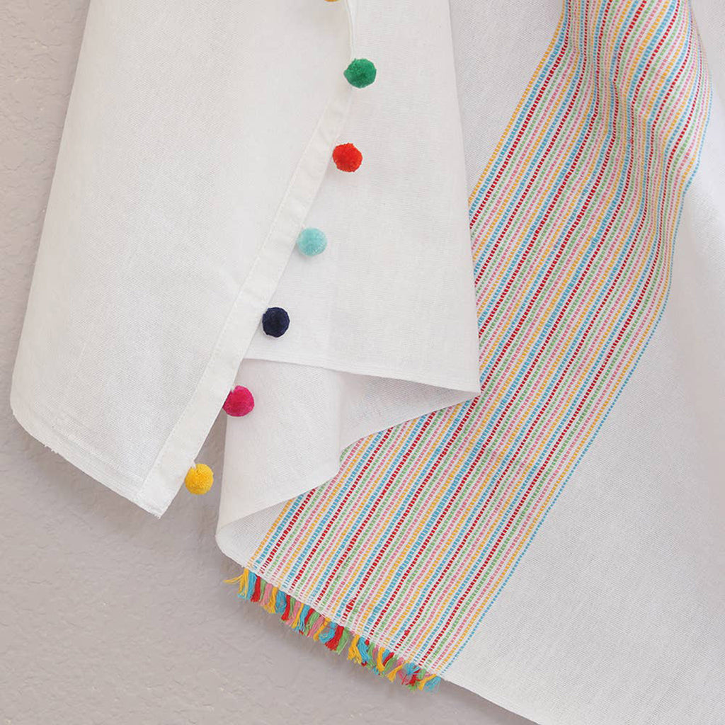 kara weaves festive rainbow stripe blanket towel with pompoms ends detail