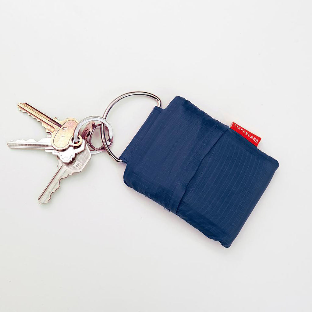 kikkerland blue keychain shopping bag in pouch with keys
