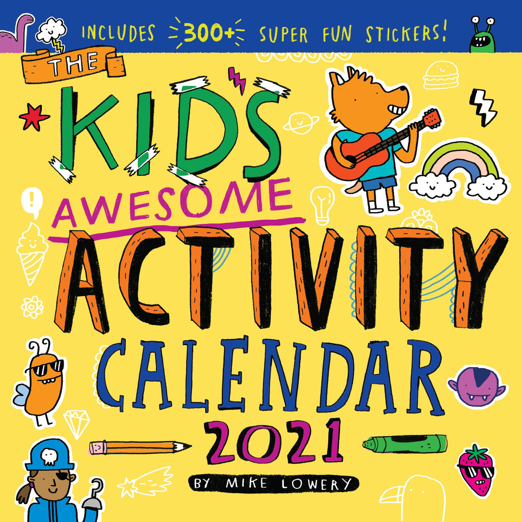 2021 kids activity calendar cover in yellow with illustrations of animals, rainbow, and food
