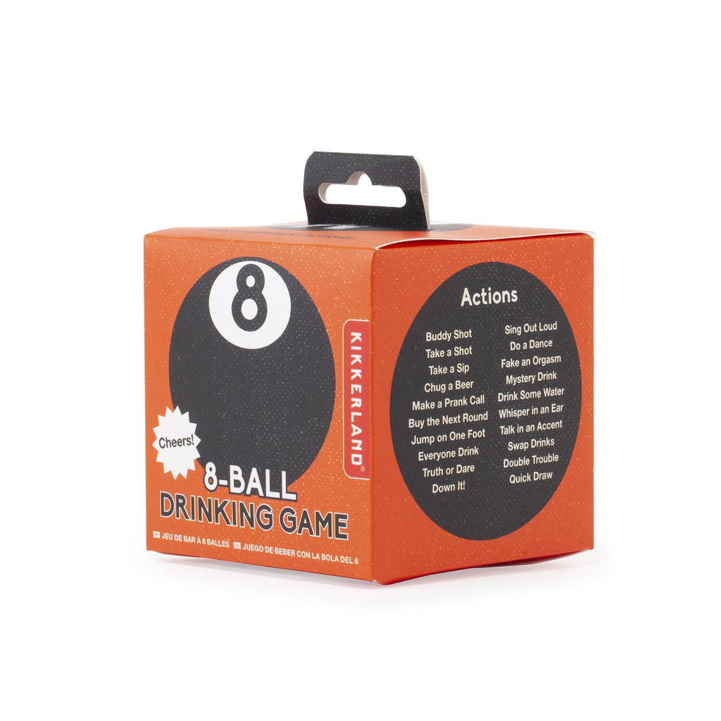 kikkerland 8 ball drinking game box angle front and side