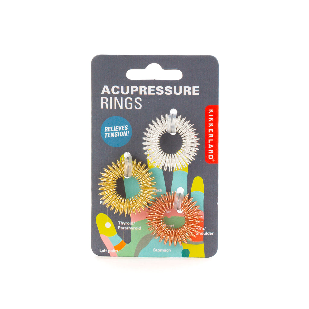 kikkerland acupressure massage rings set of three in packaging