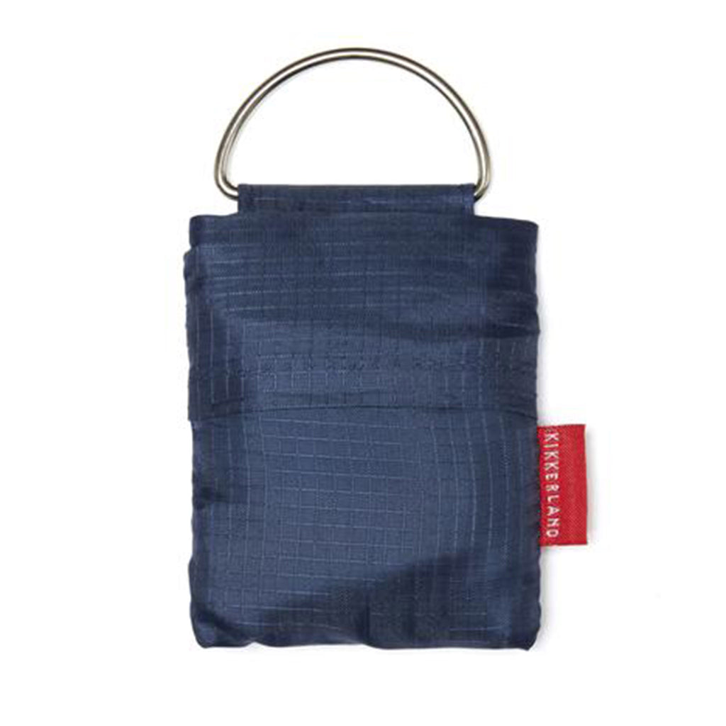 kikkerland blue keychain shopping bag in pouch