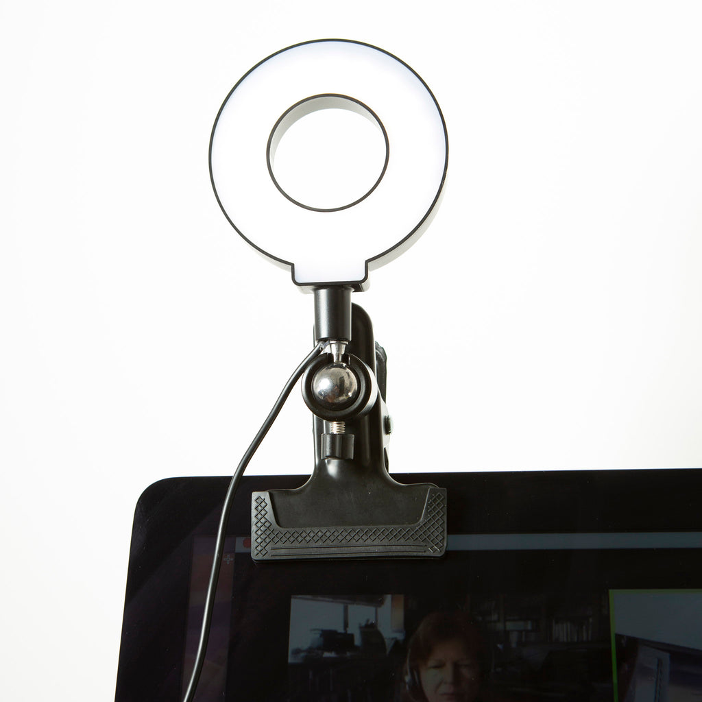 kikkerland usb powered selfie beauty ring light with clip