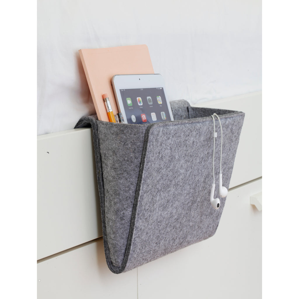 felt bedside caddy on bed