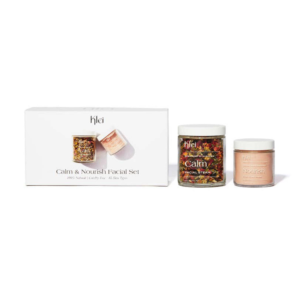 klei calm and nourish facial gift set scented facial steam and pink clay mask with packaging