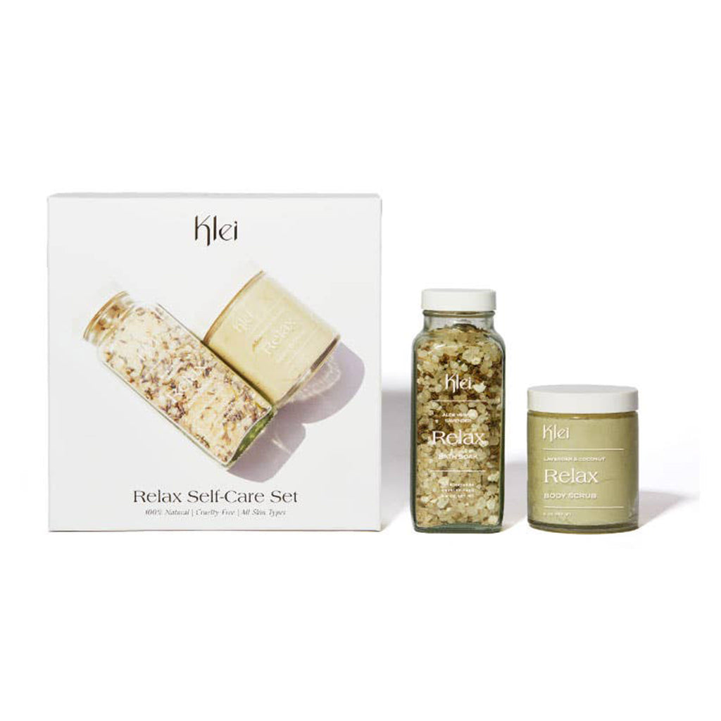klei relax self care gift set scented bath soak and body sugar scrub with packaging