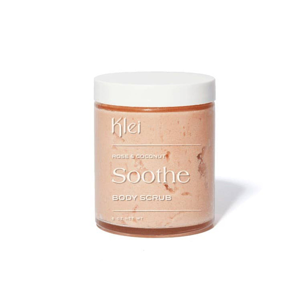 klei soothe rose and coconut scented bath and body sugar scrub in packaging