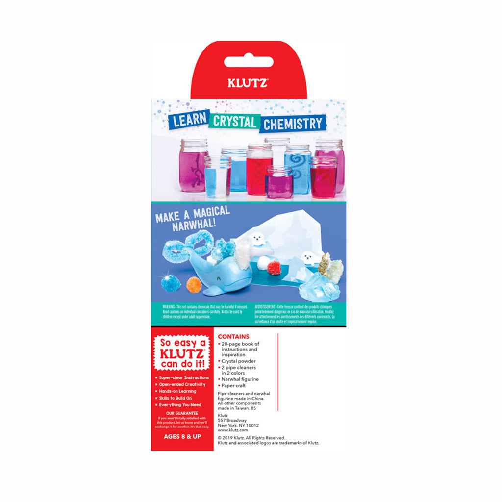 klutz grow your own crystal narwhal kids diy craft kit box back