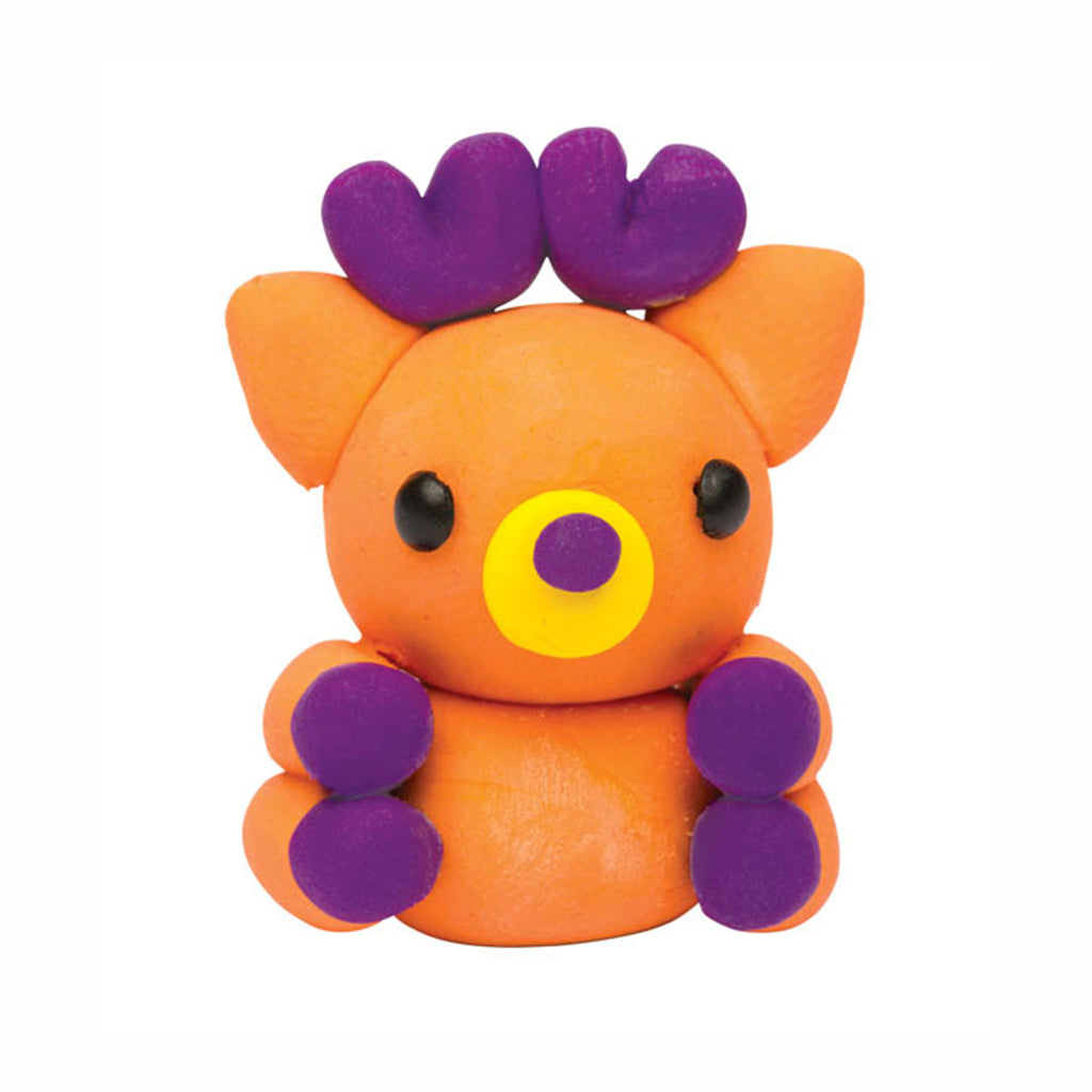 klutz make mini eraser animals pencil toppers diy kids craft kit purple and orange deer