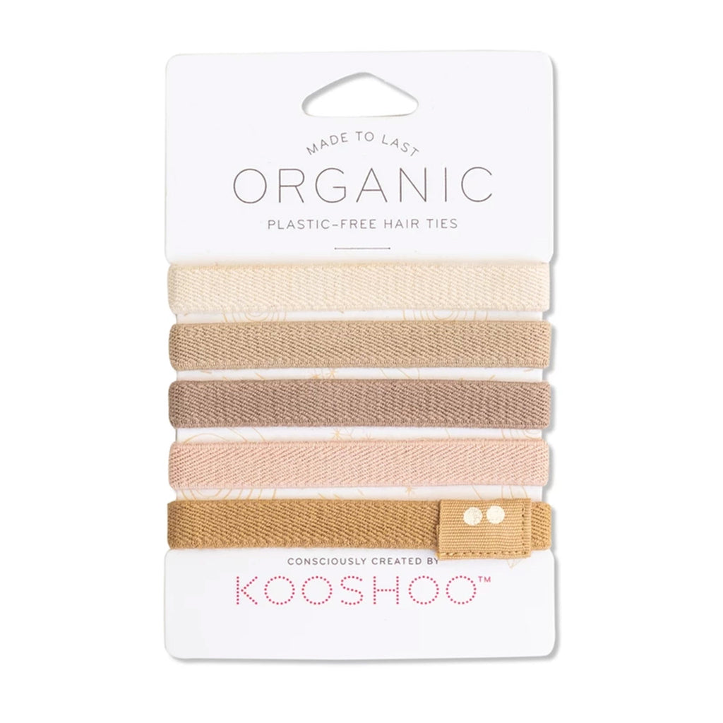 kooshoo organic cotton hair ties blond tan pink