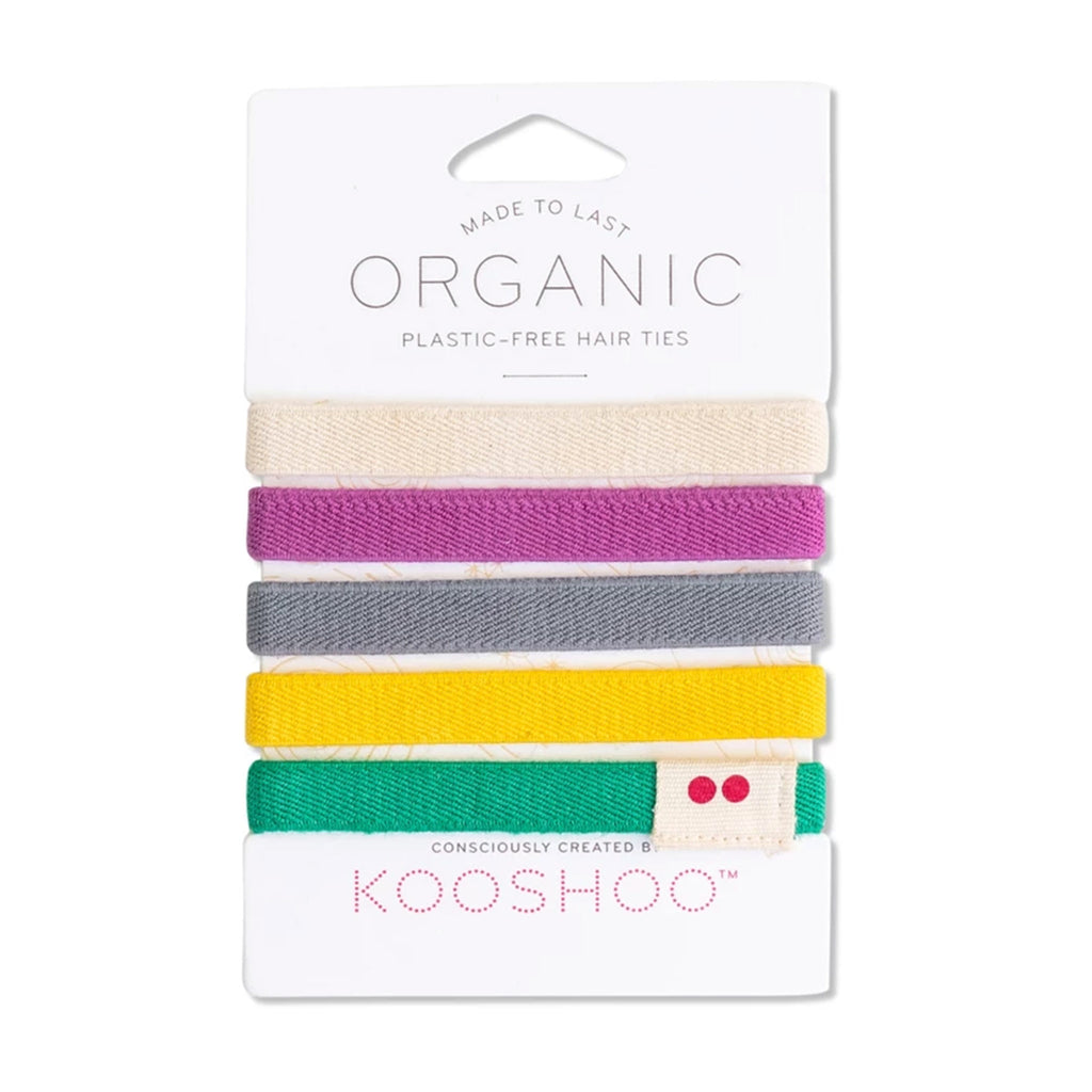 kooshoo organic cotton hair ties in cream pink gray yellow green