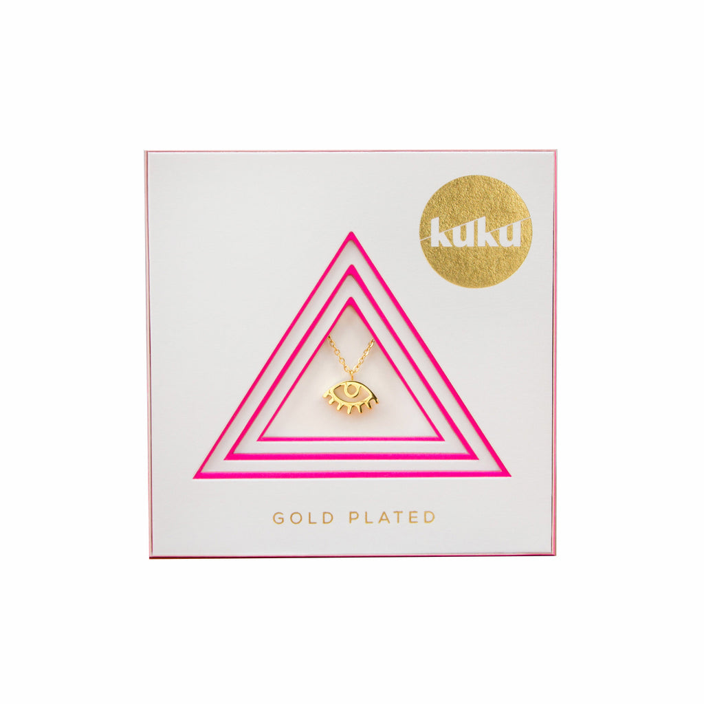 kuku gold eye necklace gold plated jewelry accessory in packaging