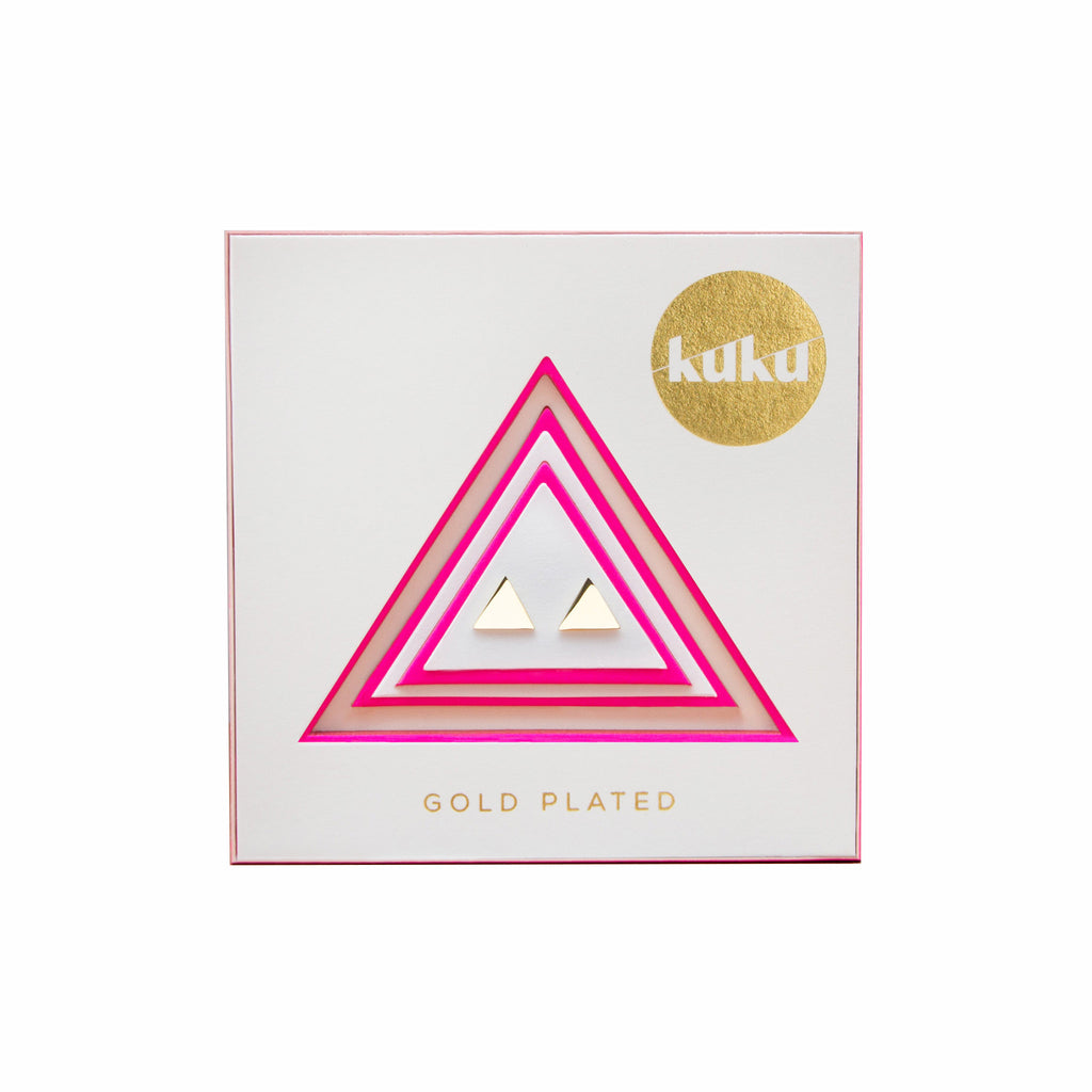 kuku gold triangle pair of earrings gold plated jewelry stud earring accessory in packaging