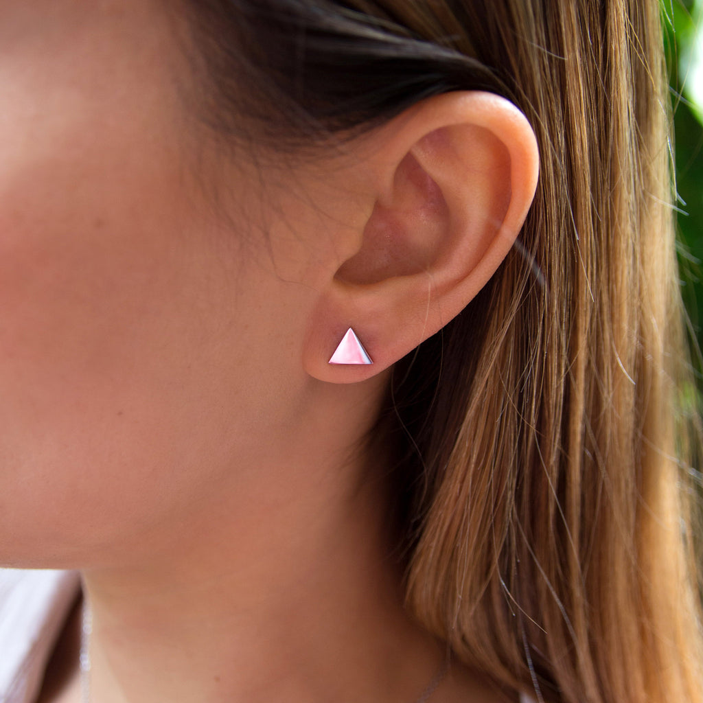 kuku silver triangle pair of earrings silver plated jewelry stud earring accessory on model