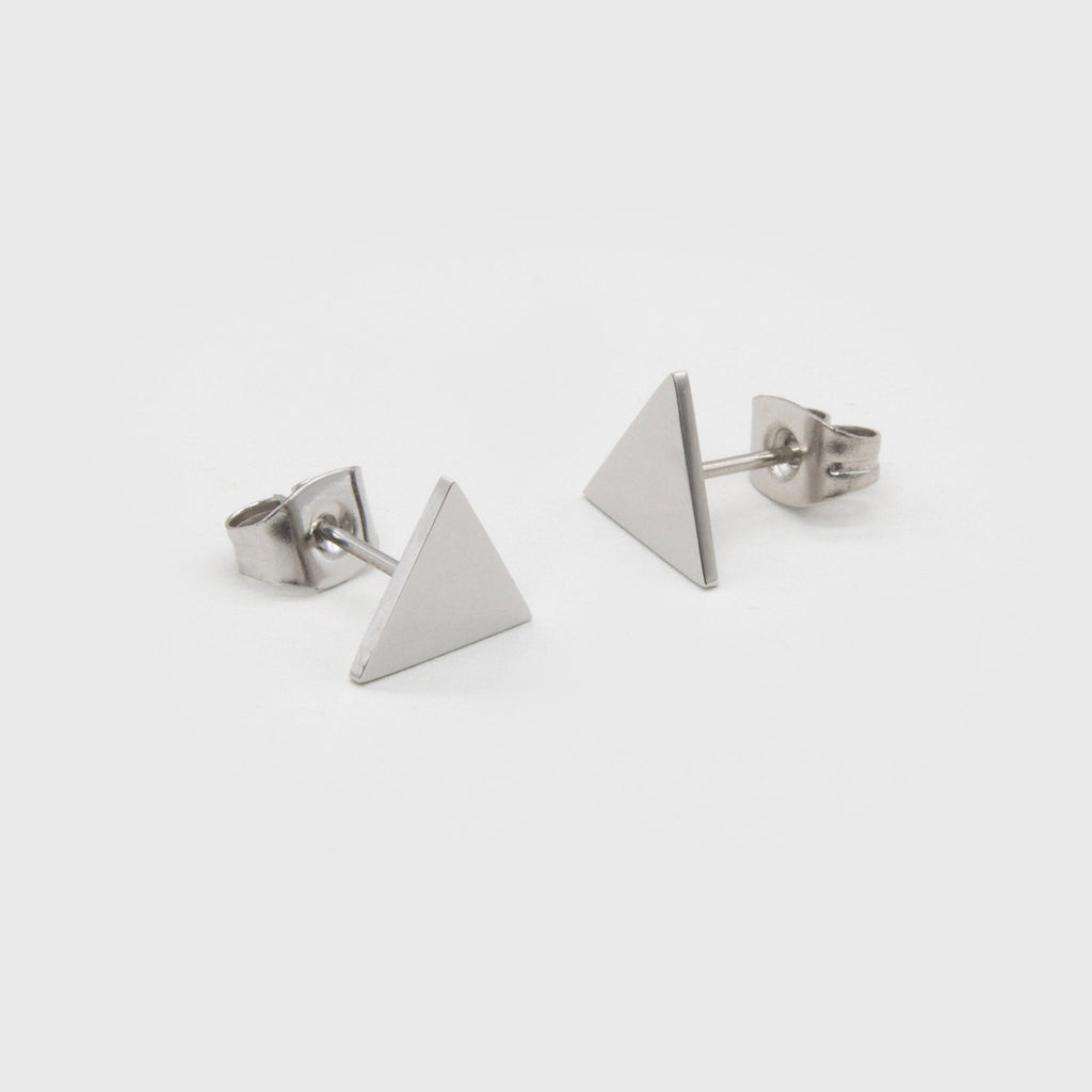 kuku silver triangle pair of earrings silver plated jewelry stud earring accessory