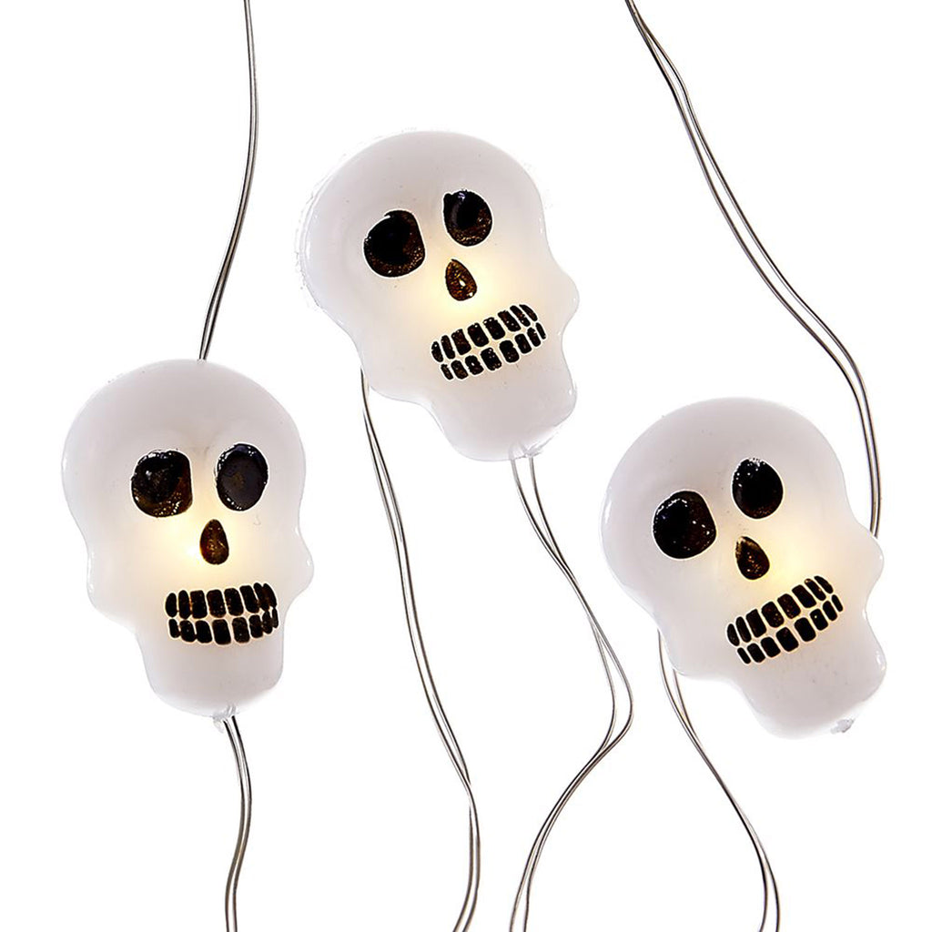 kurt adler halloween decorations led fairy string lights white skulls with black eyes nose and teeth
