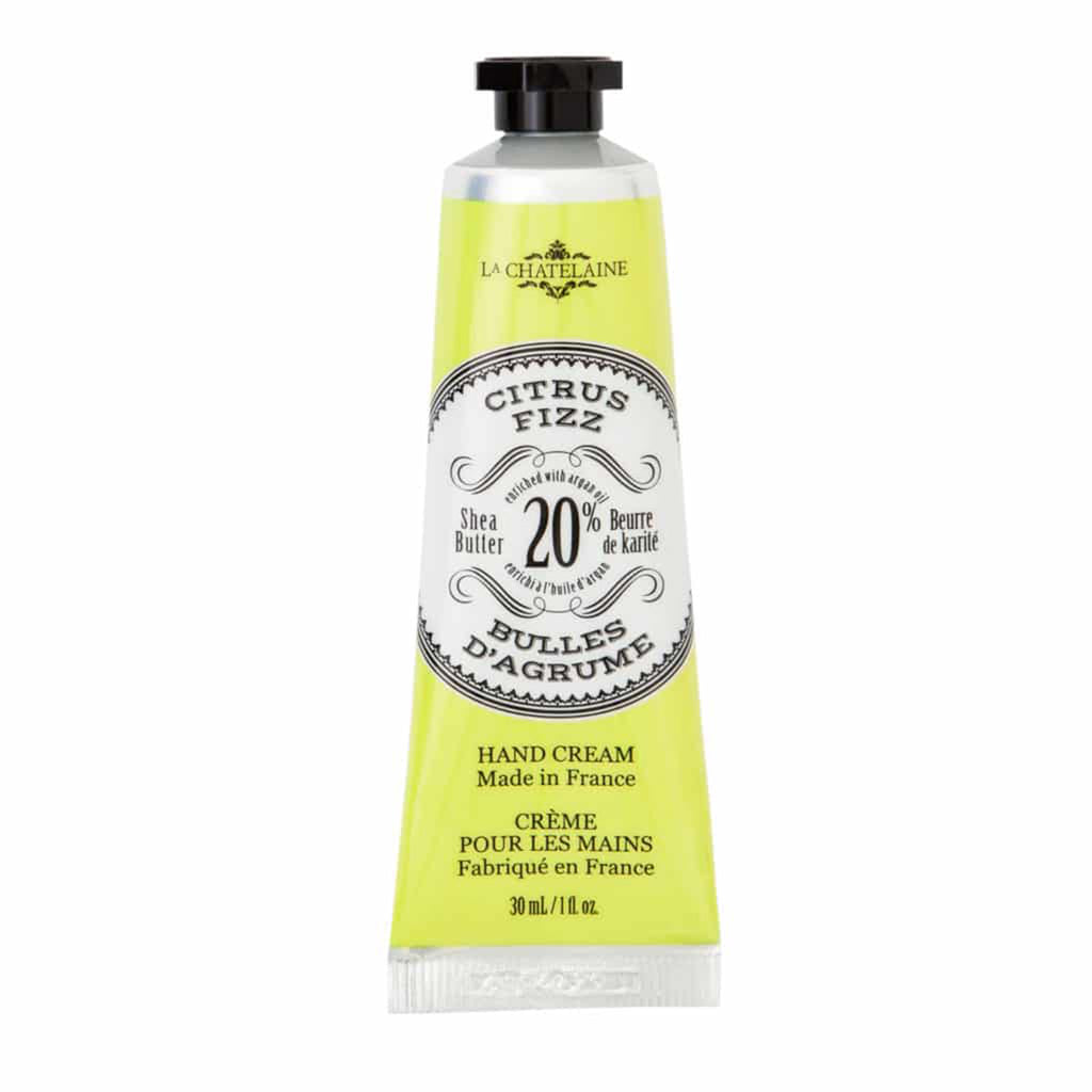 la chatelaine citrus fizz scented luxury shea butter hand cream in yellow tube