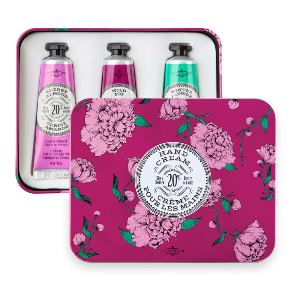 la chatelaine eggplant purple trio scented luxurious shea butter hand cream in purple and pink gift tin set with lid