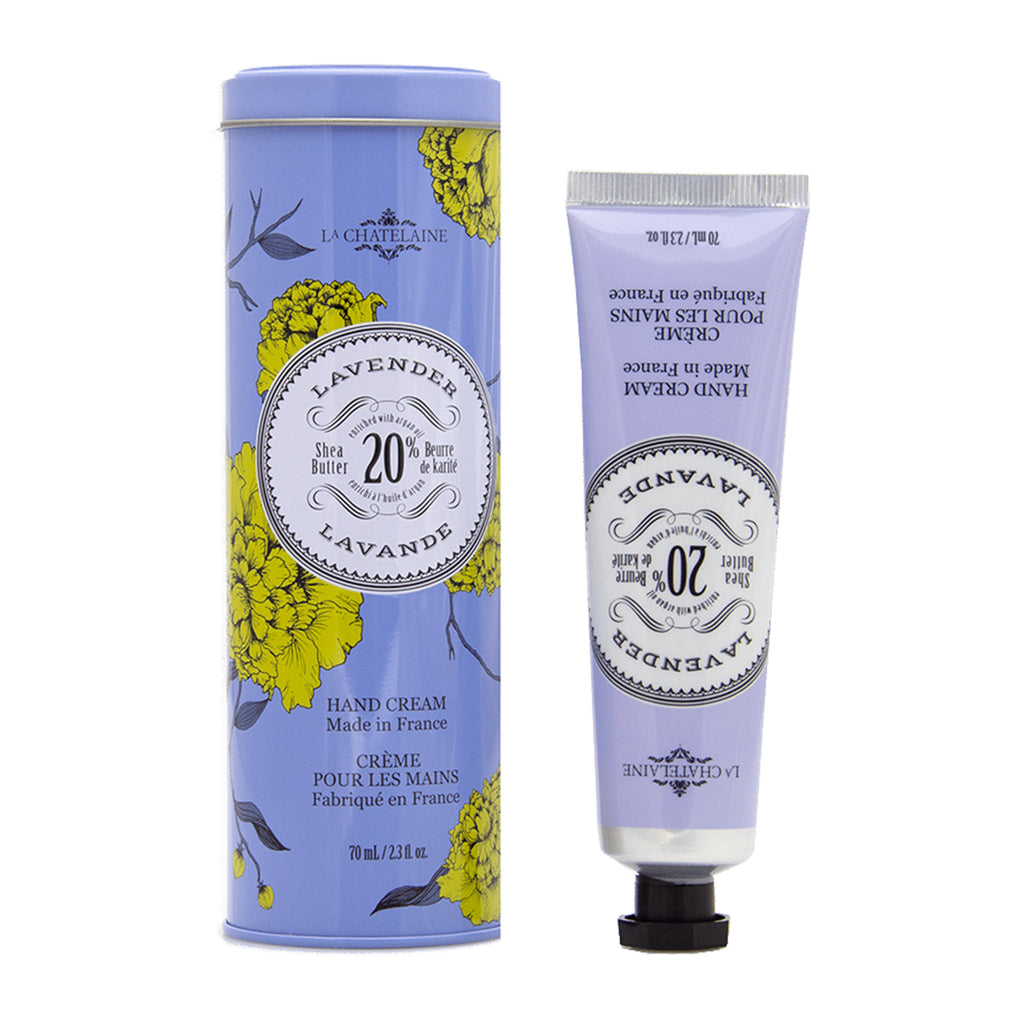 la chatelaine full size lavender scented luxurious shea butter hand cream in decorative tin