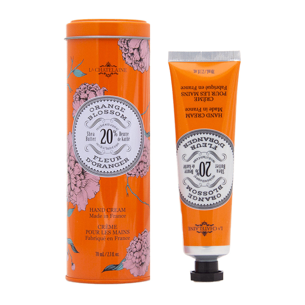 la chatelaine full size orange blossom scented luxurious shea butter hand cream in orange decorative tin