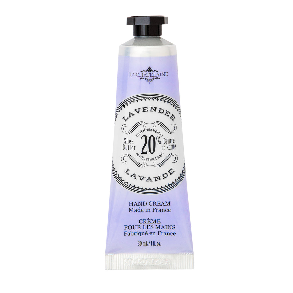la chatelaine lavender scented luxurious hand cream in purple tube