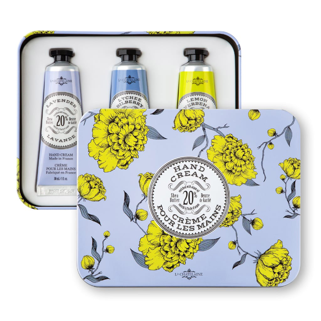 la chatelaine lavender trio scented luxurious shea butter hand cream in purple and yellow gift tin set with lid