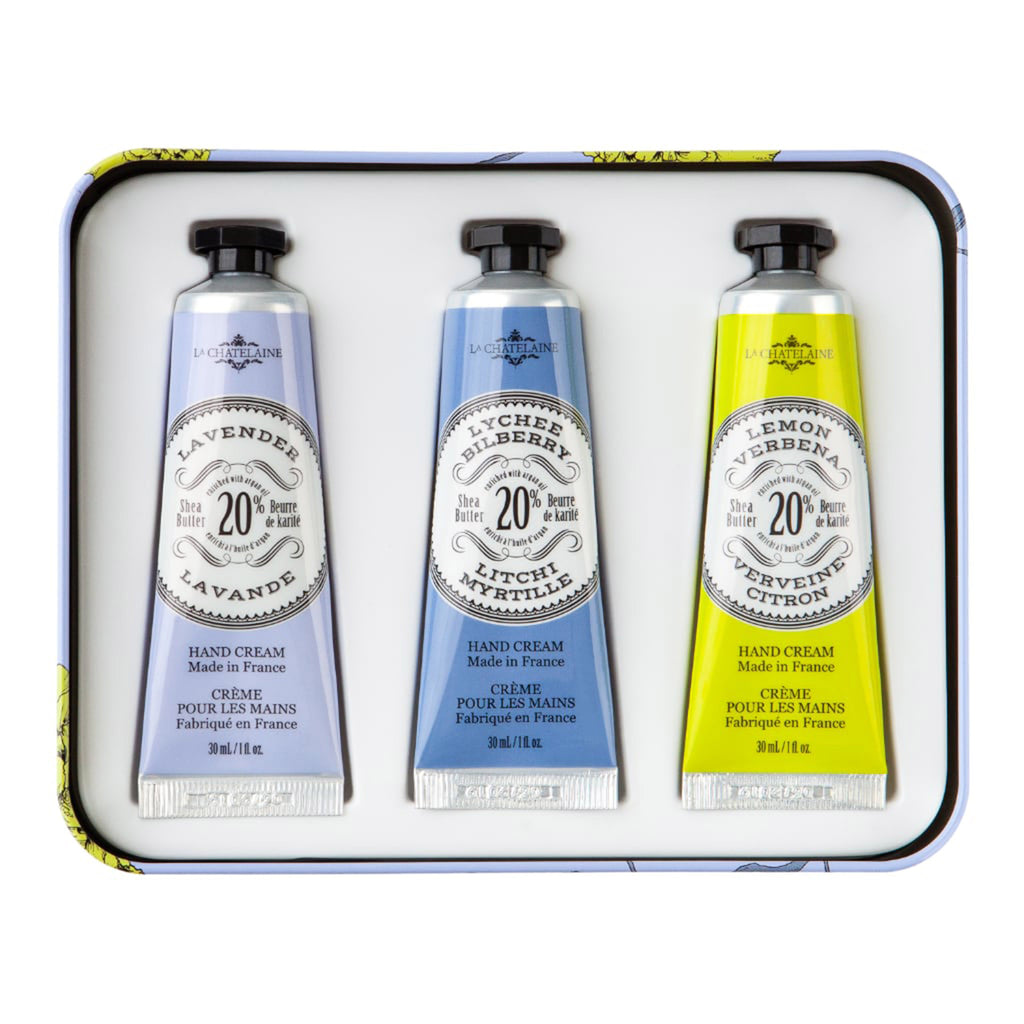 la chatelaine lavender trio scented luxurious shea butter hand cream in purple and yellow gift tin set