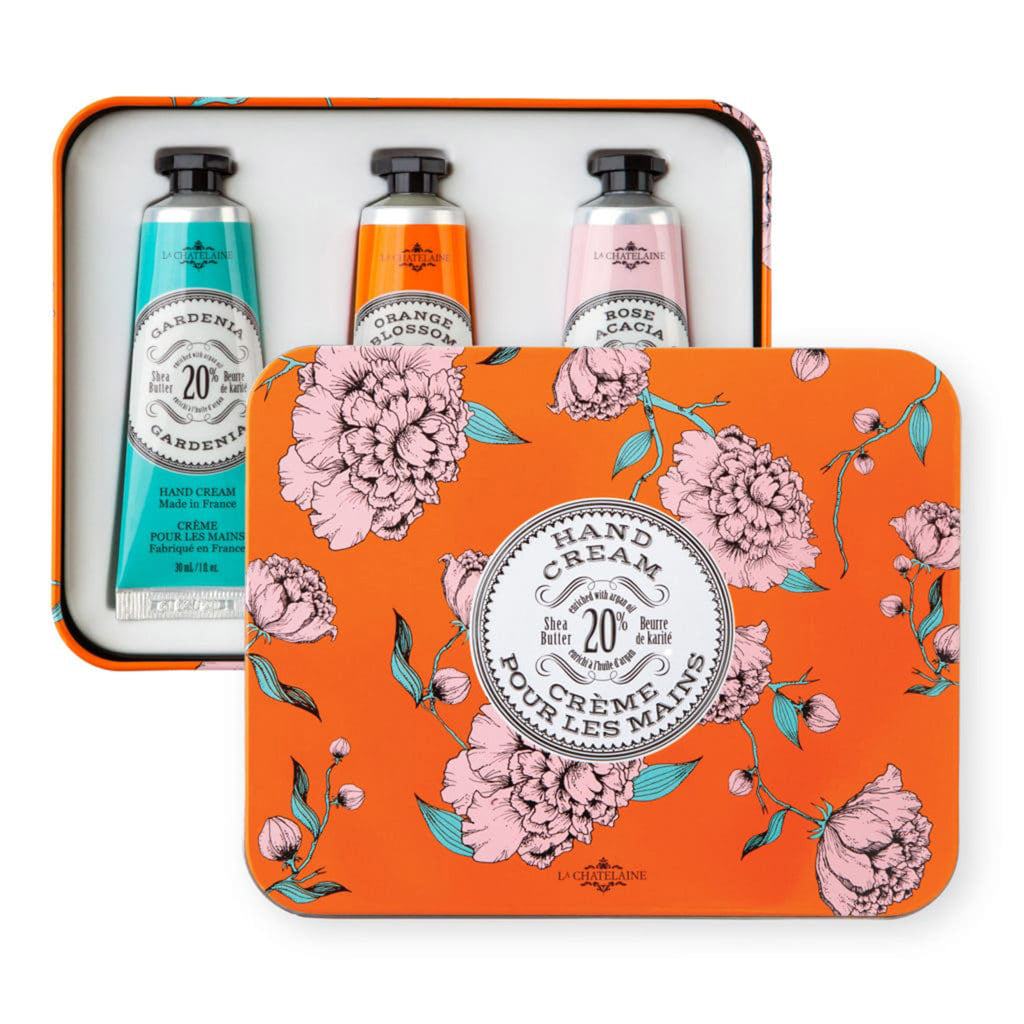 la chatelaine orange trio scented luxurious shea butter hand cream in orange and pink gift tin set with lid