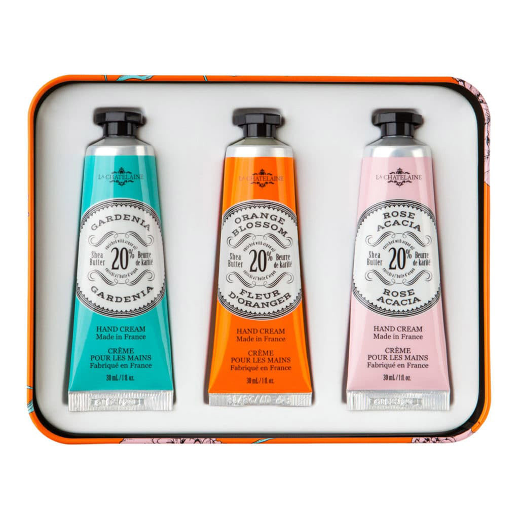 la chatelaine orange trio scented luxurious shea butter hand cream in orange and pink gift tin set