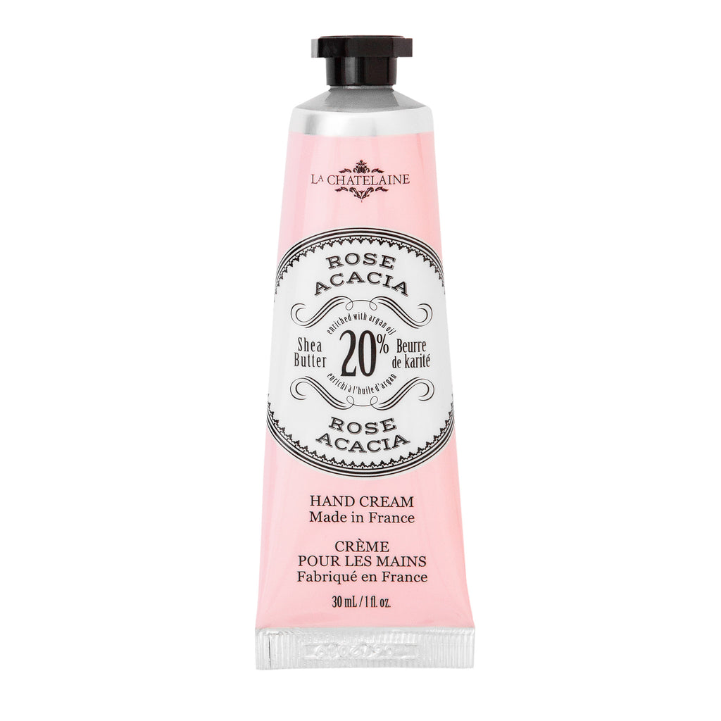 la chatelaine rose acacia scented luxurious hand cream in pink tube