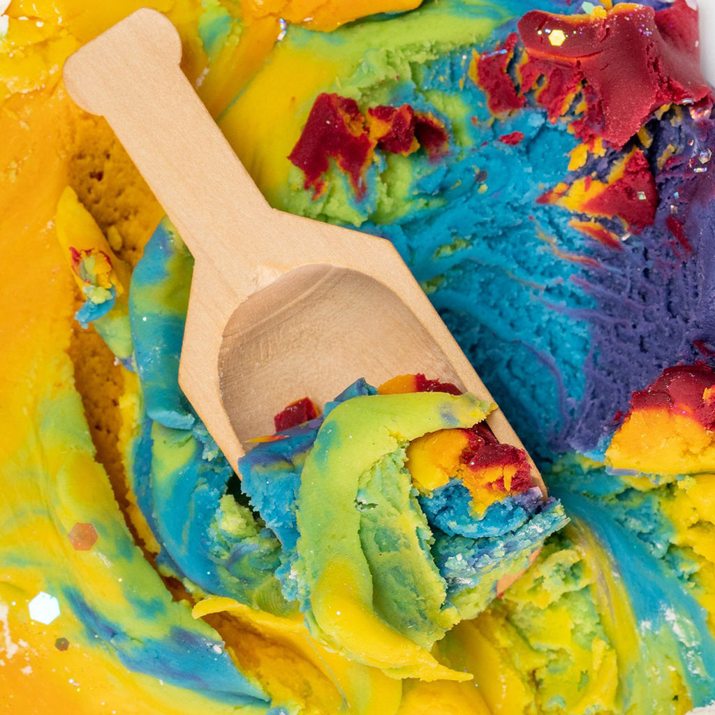 land of dough over the rainbow luxe all natural play dough cup mixing with spoon