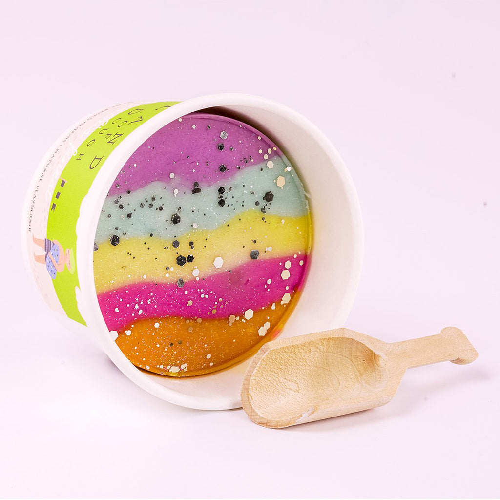 land of dough unicorn dream all natural play dough in cup with spoon
