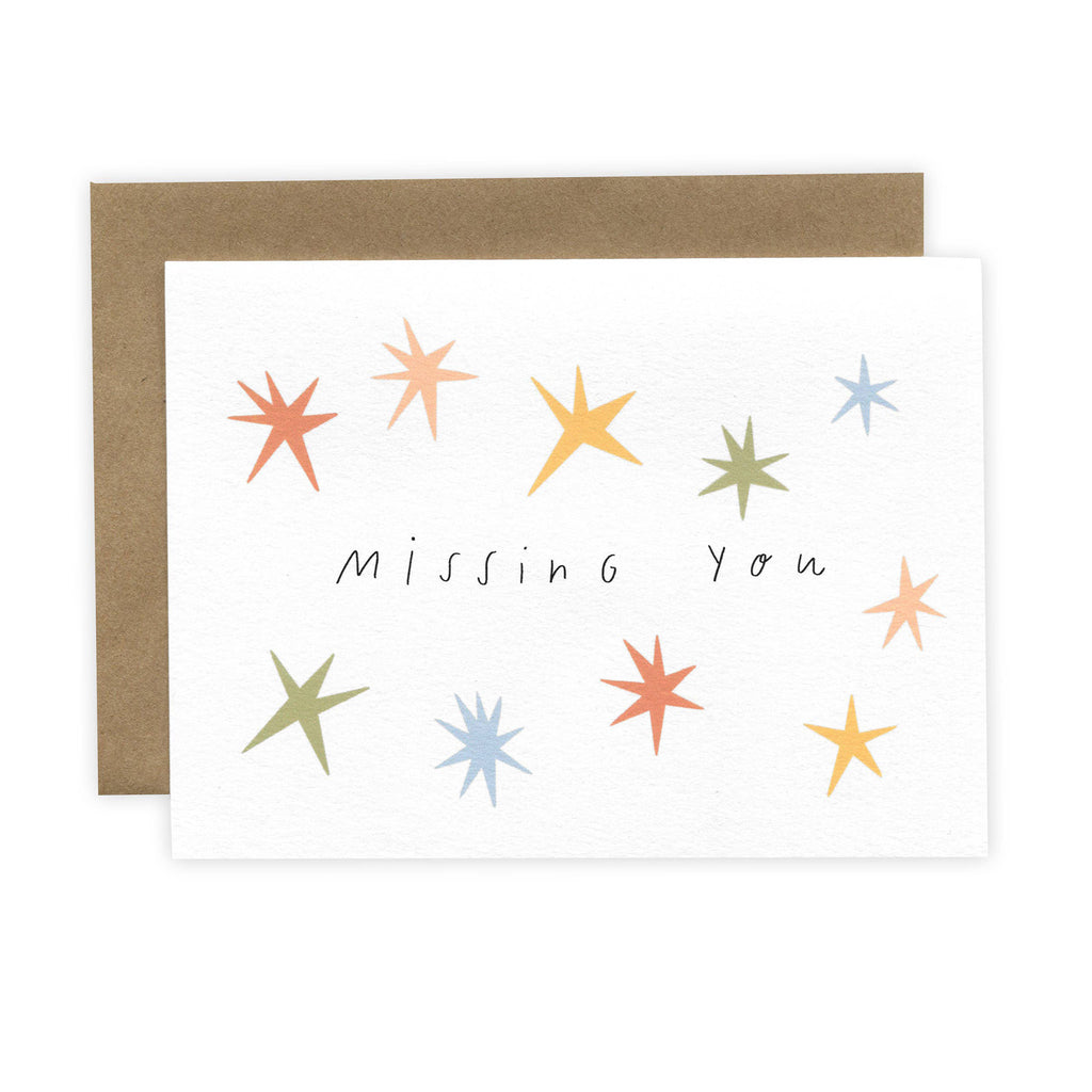 laura supnik pack of six missing you greeting cards with kraft envelopes