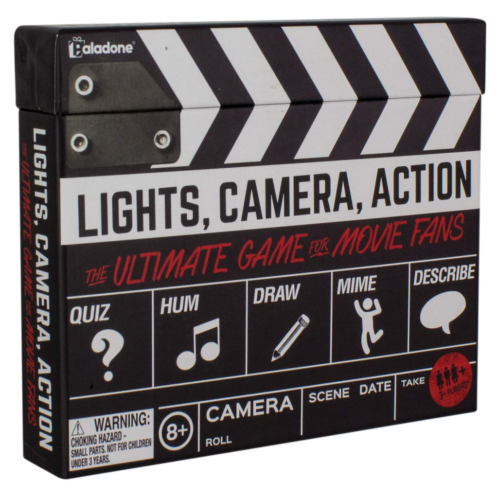 movie trivia game packaged in black, white, and red clapperboard style box