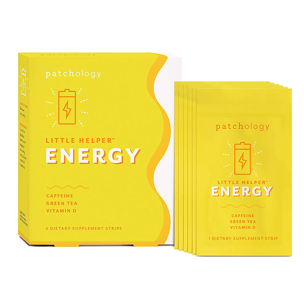 little helper energy supplement strips in yellow and white box
