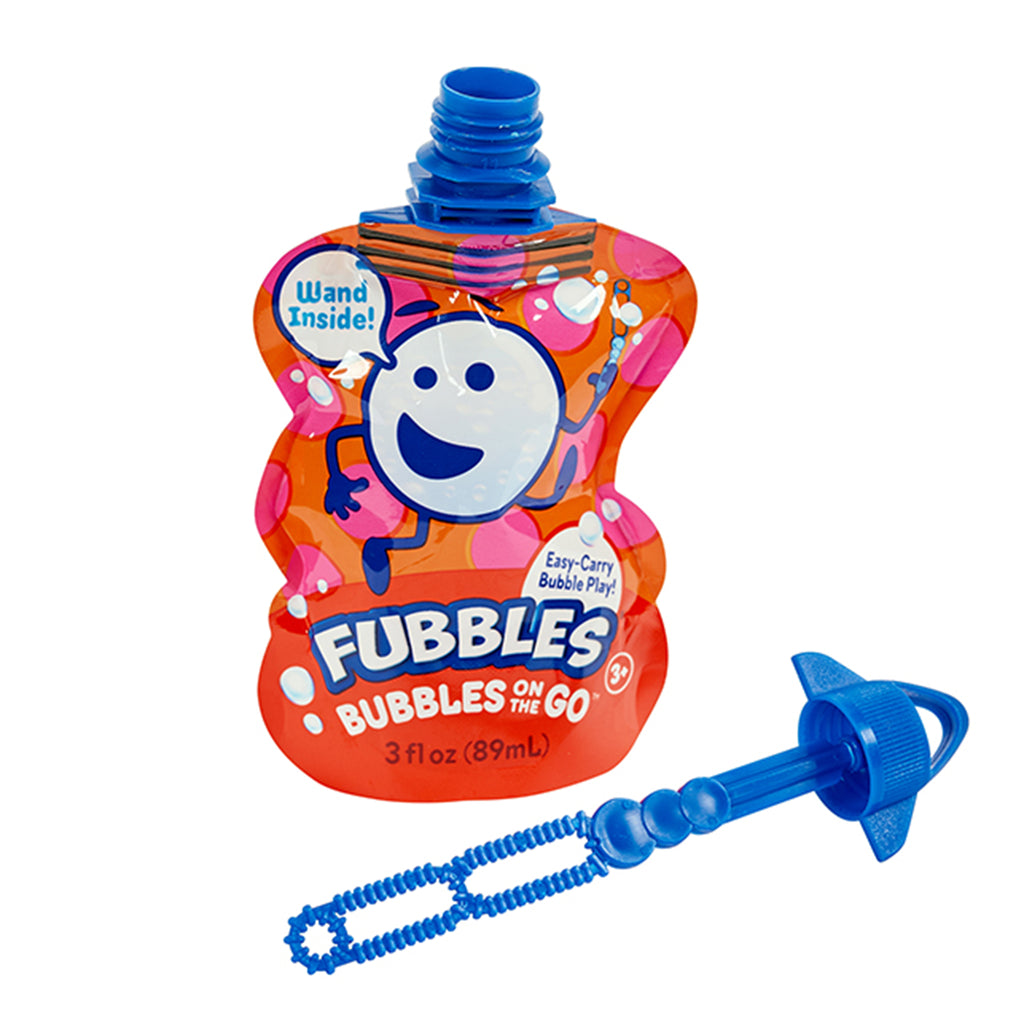 little kids fubbles bubbles on the go pouch in red with wand