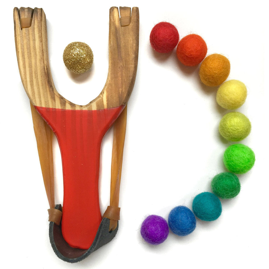 little lark kids classic wooden slingshot toy with colorful felt balls and gold glitter ball