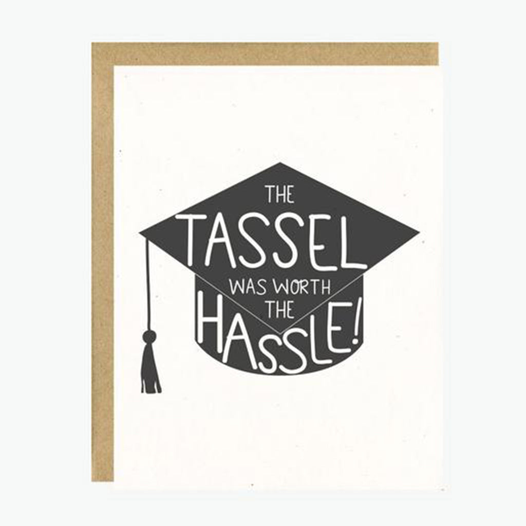 little lovelies the tassel was worth the hassle graduation cap greeting card with kraft envelope