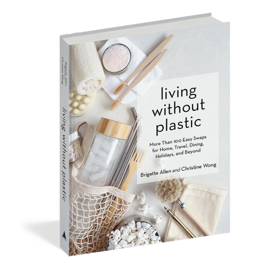 living without plastic book cover with photograph of a cotton net bag filled with plastic-free products