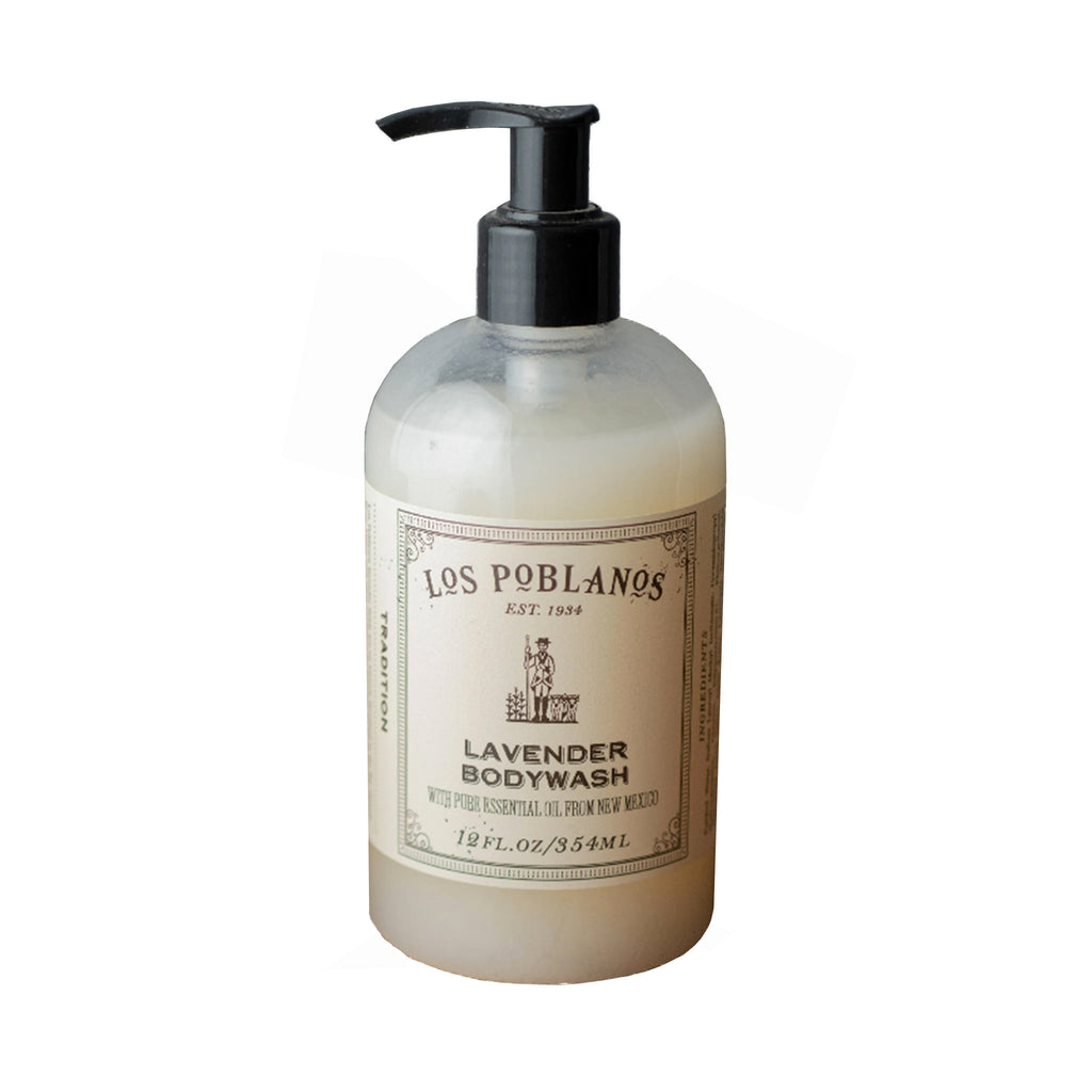 los poblanos lavender body wash soap in 12 ounce pump bottle