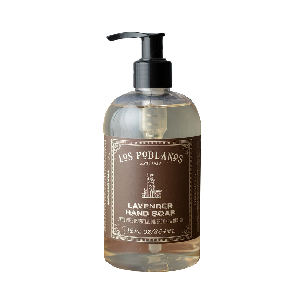 los poblanos lavender scented hand soap in a 12 ounce pump bottle