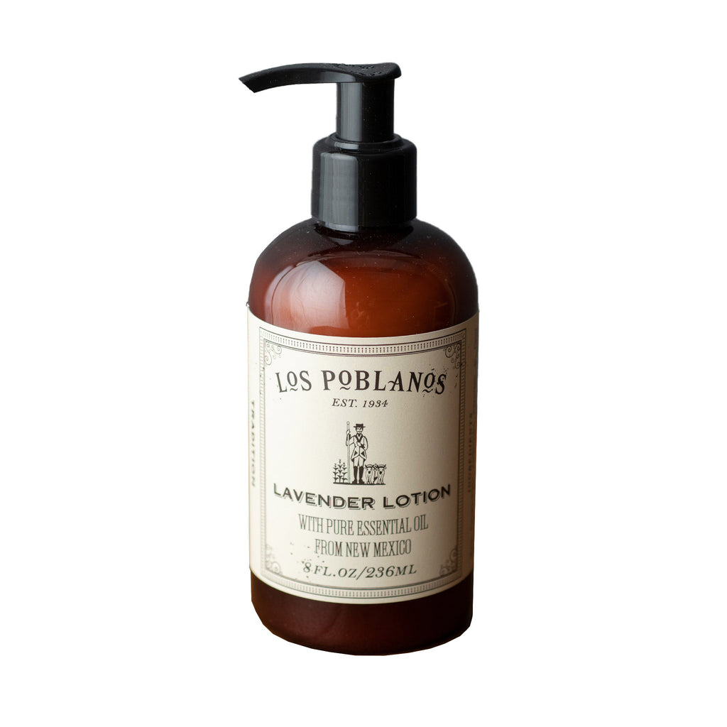 los poblanos lavender scented hand & body lotion in 8 ounce pump bottle