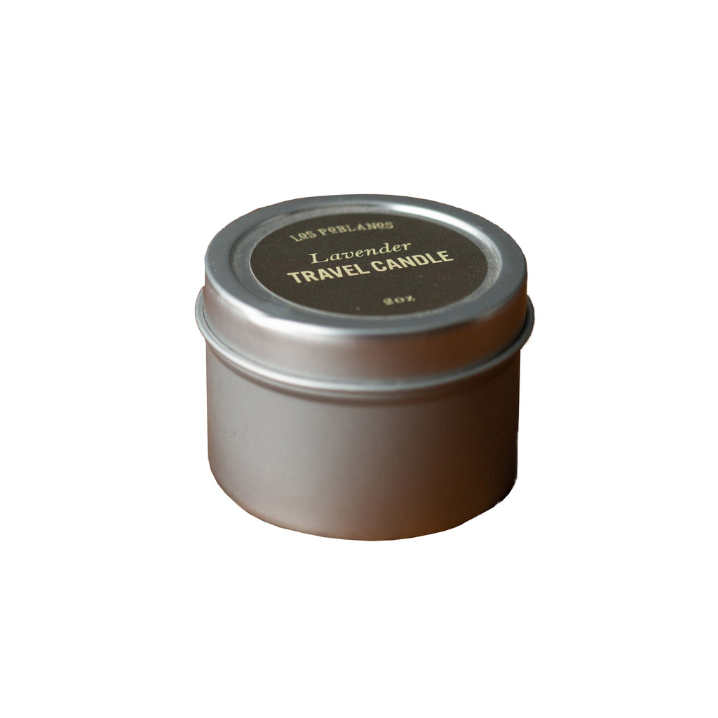 los poblanos lavender scented travel candle in 2 ounce tin with lid
