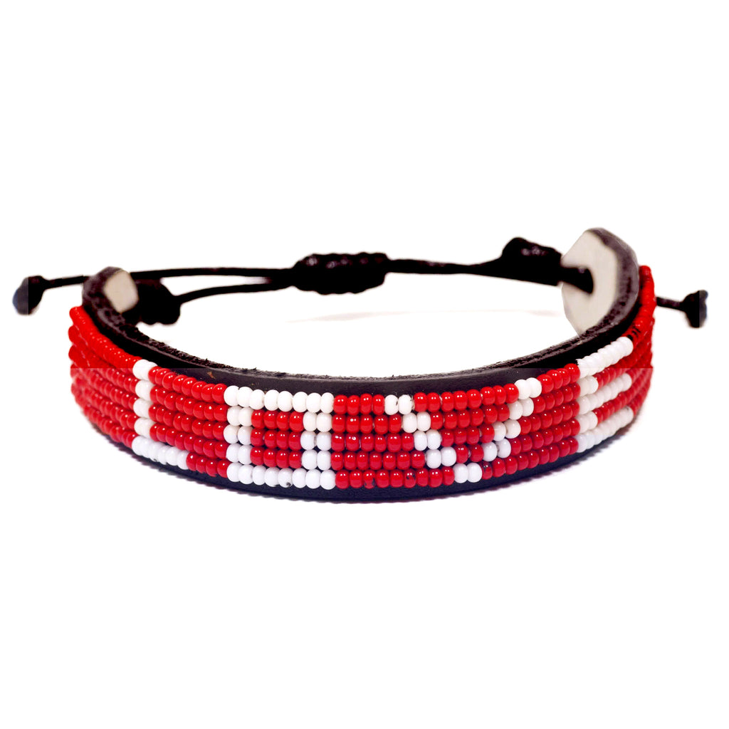 love is project original red love beaded adjustable bracelet front view